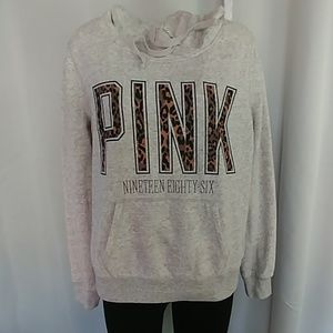 VS Pink leopard pullover hoodie size large